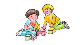 Children playing. Two children having fun with simple toys Royalty Free Stock Images