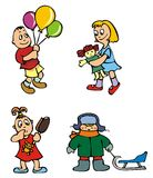 Children playing, vector. Set of cartoon drawing of children, babies, different activities, vector illustration Royalty Free Stock Images