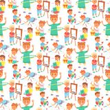 Children playing vector different types of home games little kids play summer outdoor active leisure childhood activity stock illustration