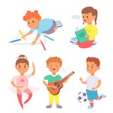 Children playing vector different types of home games little kids play summer outdoor active leisure childhood activity. Children playing vector different types Stock Images