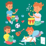 Children playing vector different types of home games little kids play summer outdoor active leisure childhood activity. Children playing vector different types Royalty Free Stock Photo