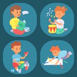 Children playing vector different types of home games little kids play summer outdoor active leisure childhood activity. Children playing vector different types Royalty Free Stock Photos