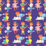 Children playing vector different types of home games little kids play summer outdoor active leisure childhood activity. Children playing vector different types Stock Photography