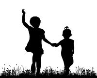 Children playing. Vector, isolated, silhouette of children playing in nature Stock Images