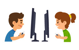 Children playing video games Royalty Free Stock Image