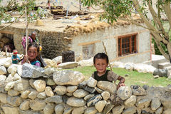 Children playing at village in Ladakh, India Royalty Free Stock Images