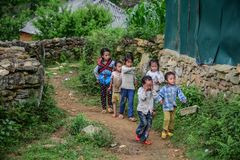 Children playing at the village stock images