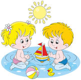Children playing in water royalty free illustration