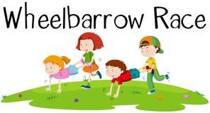 Children playing wheelbarrow race. Illustration Stock Photography