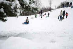 Children playing in winter Stock Photos