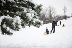 Children playing in winter Royalty Free Stock Photos
