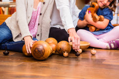 Children playing with wooden toys Royalty Free Stock Photography
