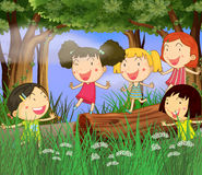 Children playing in the woods. Illustration of children playing in the woods Royalty Free Stock Photo