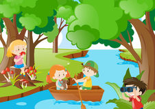 Children playing in the woods. Illustration Stock Photos