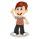 Children pointing his hand wearing brown short sleeve sweater and black trousers cartoon Royalty Free Stock Images
