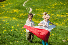 Children with Polish flag. Boy and girl with Polish flag royalty free stock image