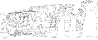Children in the pond with frogs,sketches and pencil sketches and doodles. Children playing hide and seek behind the trees and the house on the tree Royalty Free Stock Images