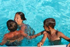 Children in the pool Royalty Free Stock Images