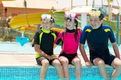 Children on pool edge royalty free stock images