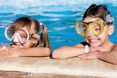 Children in pool Stock Photo