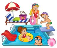 Children by pool theme image 1 Royalty Free Stock Image