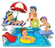 Children by pool theme image 3 Royalty Free Stock Photo