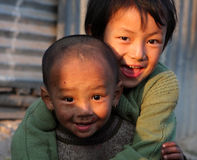 Children of a poor area. An unidentified children of a poor area at Old Baneshwor near Bagmati river in Kathmandu Nepal stock photography