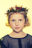 Children with porcelain flowers. In studio on light background Stock Photography