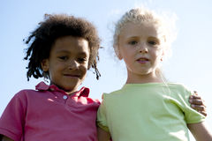 Children portrait. Low angle view Royalty Free Stock Image