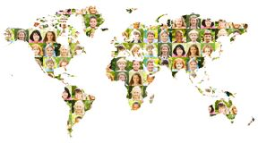 Children portrait collage on world map royalty free stock photos