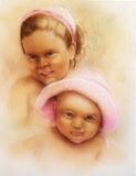 Children portrait, two sweet adorable children, colorful paintin Royalty Free Stock Photography