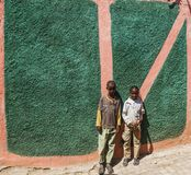Children posing in typical surroundings in city of Jugol. Harar. Ethiopia. Royalty Free Stock Photo