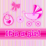 Children postcard for a girl at birth. In  EPS Stock Photo