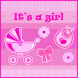 Children postcard for a girl at birth. In  EPS Royalty Free Stock Images