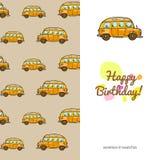 Children powitania cardtoys transport popierający kogoś z bezszwowym wzorem śmiesznego koloru kolorowi samochody Fotografia Stock