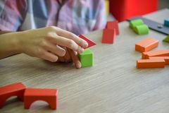 Children practice skills and brain development stock photo