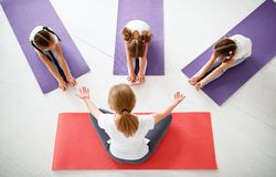 Children practicing engaged in gymnastics and yoga with teacher royalty free stock image
