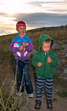 Children in prairie Royalty Free Stock Image
