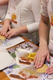 Children prepare Christmas cookies Royalty Free Stock Photos