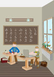 Children prepare lessons in school. Royalty Free Stock Photos