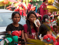 Children prepare for performing in Sihanoukville annual Carnival Stock Photo