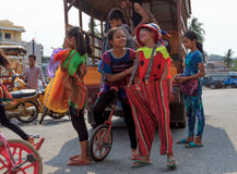 Children prepare for performing in Sihanoukville annual Carnival Royalty Free Stock Photography