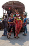 Children prepare for performing in Sihanoukville annual Carnival Royalty Free Stock Images