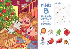 Free Children Presented Puppy For Christmas. Find 8 Hidden Objects In The Picture Stock Image - 188906381