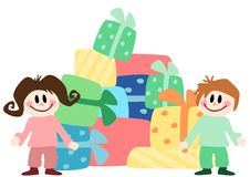 Children with presents Royalty Free Stock Images