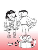 Children with presents. Cartoon illustration of young boy and girl with Christmas presents; gradient red background vector illustration