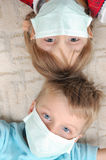 Children with pretection flu mask Stock Photo