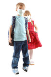 Children  with pretection flu mask Royalty Free Stock Photo