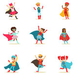 Children Pretending To Have Super Powers Dressed In Superhero Costumes With Capes And Masks Set Of Smiling Characters. Halloween Party Disguised Kids In Comics Stock Images