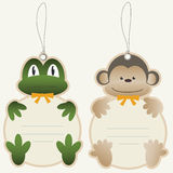 Children price tags frog and monkey Royalty Free Stock Photos